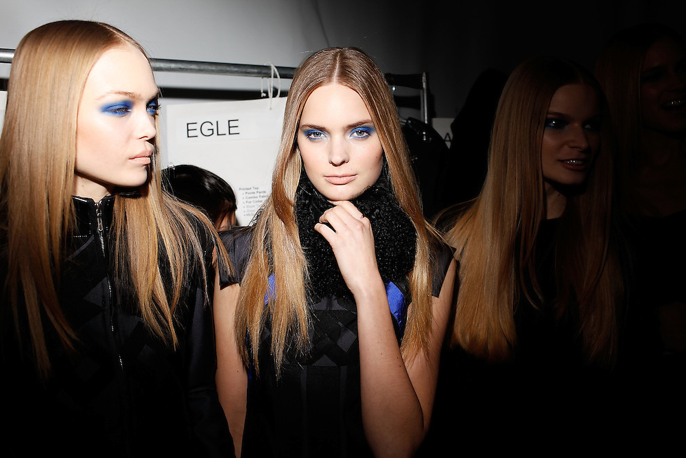 NEW YORK - FEBRUARY 13:  Models getting ready at the backstage for Nicole Miller Fall 2009 during Mercedes-Benz Fashion Week at The Salon in Bryant Park on February 13, 2009 in New York City.  (Photo by Joe Kohen/WireImage)