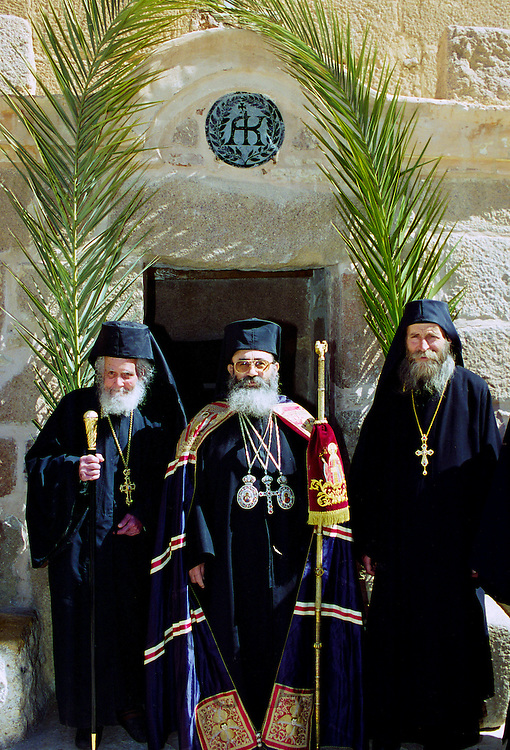 Orthodox monks at St Catherine's Monastery in Sinai Desert in Egypt