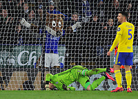 Football - 2019 / 2020 Emirates FA Cup - Fifth Round: Leicester City vs. Birmingham City<br /> <br /> The Leicester mascot celebrates the winning goal as Goalkeeper, Lee Camp is beaten by a Ricardo Pereira header, at the King Power Stadium.<br /> <br /> COLORSPORT/ANDREW COWIE
