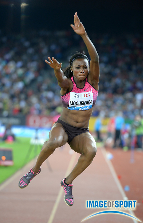 Aug 29, 2013; Zurich, SWITZERLAND; Sostene Moguenara (GER) places fourth in the womens long jump at 21-11 (6.68m) in the 2013 Weltklasse Zurichat Letzigrund Stadium. Photo by Jiro Mochizuki
