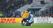 Twickenham, Great Britain,    Rob HORNE, experiencing some pain, after a tackle during the Pool A game, England vs Australia.  2015 Rugby World Cup, Venue, RFU Stadium, Twickenham, Surrey, ENGLAND.  Saturday  03/10/2015<br /> Mandatory Credit; Peter Spurrier/Intersport-images]