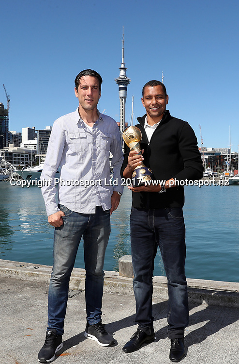 FIFA Confederations Cup tour in Auckland, two-time FIFA Confederations Cup winner and FIFA World Cup winner Gilberto Silva and All Whites legend Ivan Vicelich attend various events around Auckland with the Confederations Cup, Auckland, New Zealand, Sunday 19th March 2017. Photo: Shane Wenzlick