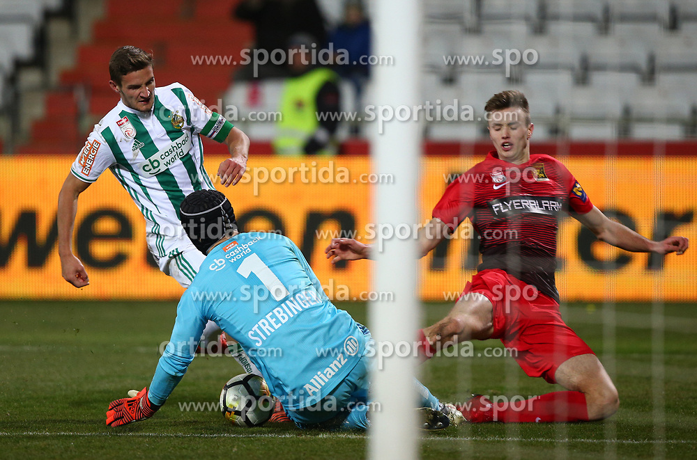 11.02.2018, BSFZ Arena, Maria Enzersdorf, AUT, 1. FBL, FC Flyeralarm Admira vs SK Rapid Wien, 22. Runde, im Bild Maximilian Hofmann (SK Rapid Wien), Richard Strebinger (SK Rapid Wien) und Sasa Kalajdzic (FC Flyeralarm Admira) // during Austrian Bundesliga Football 22nd round match between FC Flyeralarm Admira vs SK Rapid Wien at the BSFZ Arena, Maria Enzersdorf, Austria on 2018/02/11. EXPA Pictures © 2018, PhotoCredit: EXPA/ Thomas Haumer