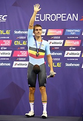 Silver Medal winner Belgium's Kenny De Ketele on the podium for the Mens 40km Points Race during day four of the 2018 European Championships at the Sir Chris Hoy Velodrome, Glasgow. PRESS ASSOCIATION Photo. Picture date: Sunday August 5, 2018. See PA story CYCLING European. Photo credit should read: Jane Barlow/PA Wire. RESTRICTIONS: Editorial use only, no commercial use without prior permission