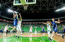 Leon Santelj of Rogaska vs Aleksandar Lazic of Petrol Olimpija during basketball match between KK Petrol Olimpija and KK Rogaska in Round #5 of Liga Nova KBM za prvaka 2018/19, on March 31, 2019, in Arena Stozice, Ljubljana, Slovenia. Photo by Masa Kraljic / Sportida