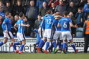 GOAL Ian Henderson celebrates 3-1  during the EFL Sky Bet League 1 match between Rochdale and Shrewsbury Town at Spotland, Rochdale, England on 30 March 2018. Picture by Daniel Youngs.
