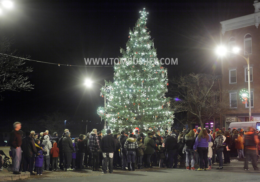 Newburgh, New York  - People watch the Christmas tree lighting ceremony on Broadway on the night of Dec. 14, 2011.