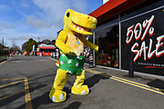 NSPCC dinosaur mascot ouside the Vitality Stadium before the Premier League match between Bournemouth and Manchester City at the Vitality Stadium, Bournemouth, England on 2 March 2019.