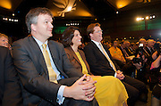 Liberal Democrats<br /> Autumn Conference 2011 <br /> at the ICC, Birmingham, Great Britain <br /> <br /> 17th to 21st September 2011 <br /> <br /> Rt Hon Michael Moore - Scottish Secretary of State <br /> Miriam Gonzalez Durantez & Rt Hon Danny Alexander MP <br /> watching Nick Clegg's speech <br /> <br /> Rt Hon Nick Clegg MP<br /> Leader of the Liberal Democrats<br /> Deputy Prime Minister<br /> Speech <br /> <br /> Photograph by Elliott Franks