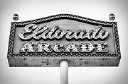 Eldorado Arcade sign against the sky at Coney island Amusement Park, Brooklyn.