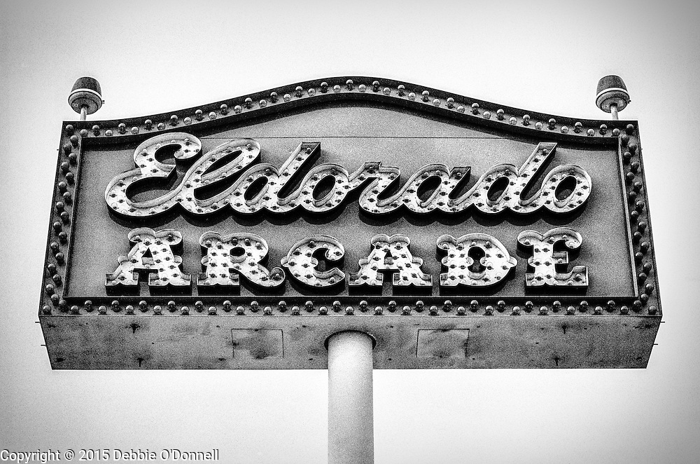 Eldorado Arcade sign against the sky at Coney island Amusement Park, Brooklyn.