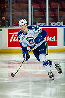 KELOWNA, BC - OCTOBER 16:  Kye Buchanan #34 of the Swift Current Broncos warms up on the ice against the Kelowna Rockets at Prospera Place on October 16, 2019 in Kelowna, Canada. (Photo by Marissa Baecker/Shoot the Breeze)