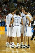 ATENE, 23 AGOSTO 2004<br /> OLIMPIADI ATENE 2004<br /> BASKET<br /> ITALIA - ARGENTINA<br /> NELLA FOTO: ALEX RIGHETTI, MASSIMO BULLERI, GIACOMO GALANDA, MATTEO SORAGNA, DENIS MARCONATO<br /> FOTO CIAMILLO
