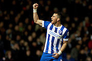 Brighton striker Tomer Hemed celebrates after making it 2-0 during the Sky Bet Championship match between Brighton and Hove Albion and Fulham at the American Express Community Stadium, Brighton and Hove, England on 15 April 2016. Photo by Bennett Dean.
