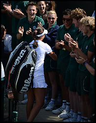 Laura Robson goes to see a groundsman after beating Marina Erakovic at<br /> The All England Lawn Tennis Club, Wimbledon, United Kingdom<br /> Saturday, 29th June 2013<br /> Picture by Andrew Parsons / i-Images