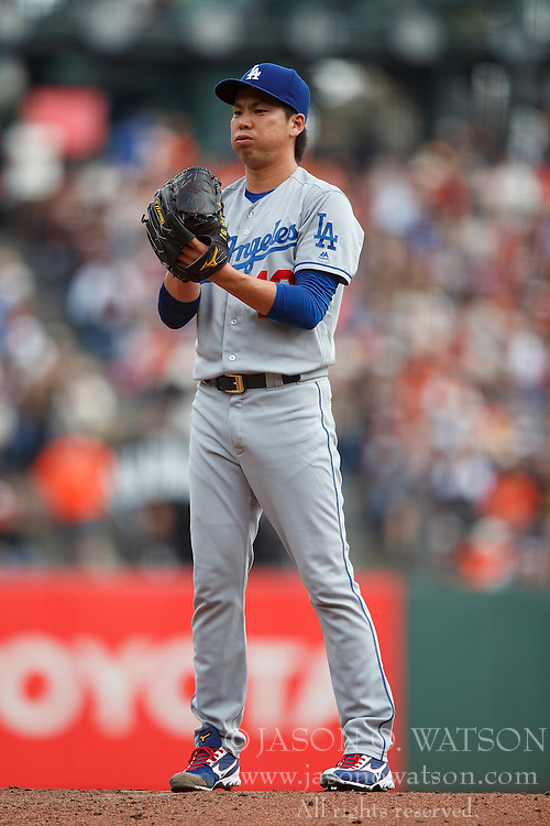 SAN FRANCISCO, CA - OCTOBER 02: Kenta Maeda #18 of the Los Angeles Dodgers stands on the pitchers mound against the San Francisco Giants during the second inning at AT&T Park on October 2, 2016 in San Francisco, California. The San Francisco Giants defeated the Los Angeles Dodgers 7-1. (Photo by Jason O. Watson/Getty Images) *** Local Caption *** Kenta Maeda
