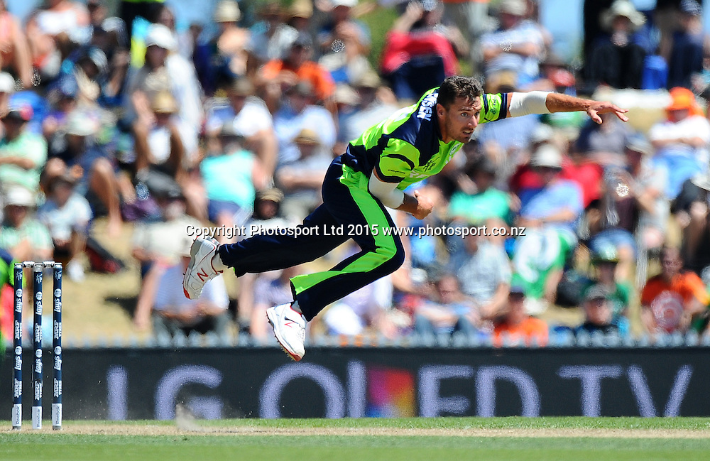Max Sorensen of Ireland during the 2015 ICC Cricket World Cup match between West Indies and Ireland. Saxton Oval, Nelson, New Zealand. Monday 16 February 2015. Copyright Photo: Chris Symes / www.photosport.co.nz
