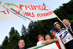 Primoz Peterka of Slovenia with his fans during Ski Jumping Summer Continental Cup in Kranj and last jump of Primoz Peterka's career, one of the best ski jumpers in history, on July 2, 2011, in Kranj, Slovenia. (Photo by Vid Ponikvar / Sportida)