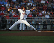 Ole Miss vs. Virginia's Nathan Kirby (19) in the College World Series in Omaha, Neb. on Sunday, June 15, 2014. Virginia won 2-1.