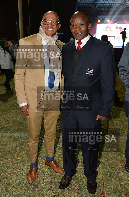 DURBAN, SOUTH AFRICA - JUNE 21: Frank Fredericks (former sprinter from Namibia and now IAAF Council member) with Aleck Skhosana (ASA president) during the CAA 20th African Senior Championships Opening Ceremony at Growth Point Kings Park stadium on June 21, 2016 in Durban, South Africa. (Photo by Roger Sedres/Gallo Images)