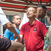 Head Coach Tommy Amaker hold a beginning of the season barbecue for the Harvard Men's Basketball team at his home on August 30, 2015 in Mashpee, Massachusetts. (Photo by Elan Kawesch)