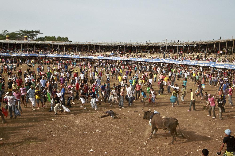 Aficionados y expertos reaccionan despues de que un toro cornea a un participante durante una corraleja en Turbaco, Bolivar, Colombia