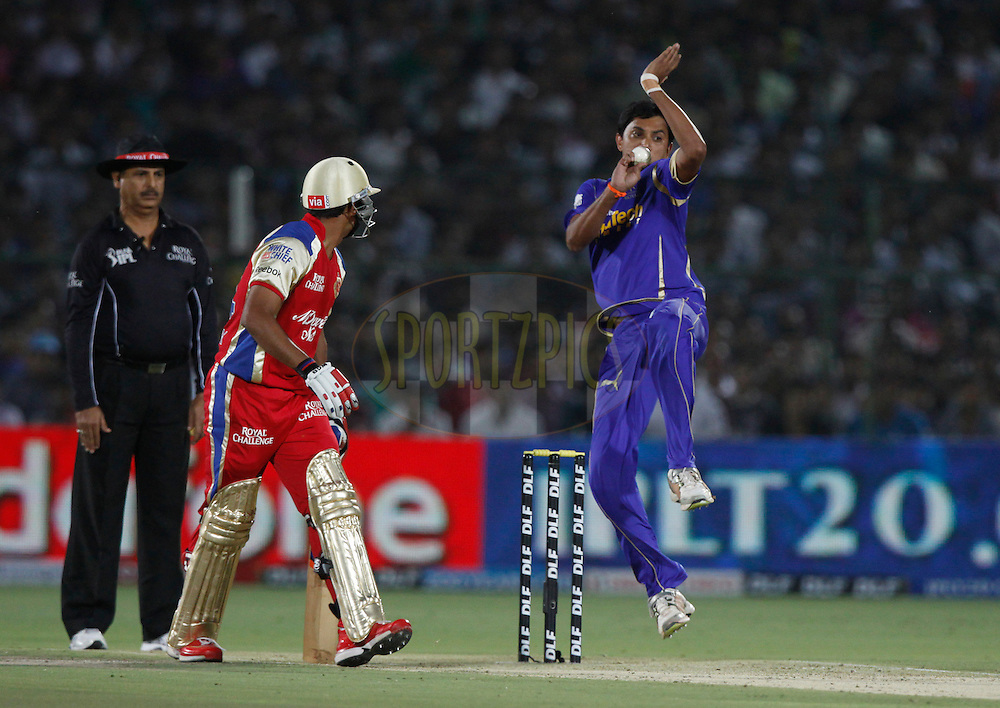 Rajasthan Royals player Siddharth Trivedi bowls during match 30 of the the Indian Premier League ( IPL) 2012  between The Rajasthan Royals and the Royal Challengers Bangalore held at the Sawai Mansingh Stadium in Jaipur on the 23rd April 2012..Photo by Pankaj Nangia/IPL/SPORTZPICS