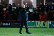 Accrington Stanley Manager John Coleman applauds the fans at full time during the The FA Cup 3rd round match between Accrington Stanley and Ipswich Town at the Fraser Eagle Stadium, Accrington, England on 5 January 2019.