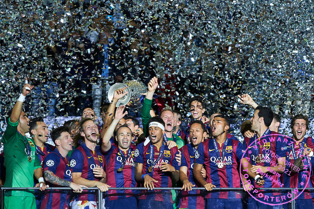 Team of Barcelona celebrate after their victory during the 2014/15 UEFA Champions League Final between Juventus and FC Barcelona at Olympiastadion on June 6, 2015 in Berlin, Germany.<br /> Germany, Berlin, June 6, 2015<br /> <br /> Picture also available in RAW (NEF) or TIFF format on special request.<br /> <br /> For editorial use only. Any commercial or promotional use requires permission.<br /> <br /> Adam Nurkiewicz declares that he has no rights to the image of people at the photographs of his authorship.<br /> <br /> Mandatory credit:<br /> Photo by &copy; Adam Nurkiewicz / Mediasport