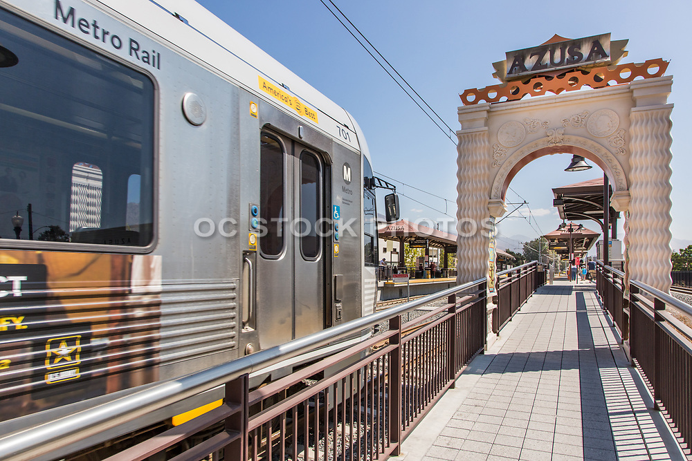Metro Light Rail Pulling into Downtown Azusa Station