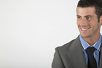Businessman smiling on white background portrait