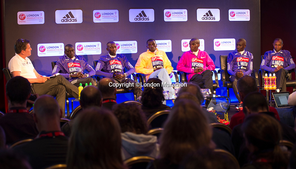 Virgin Money London Marathon 2015<br /> <br /> Press conference featuring some of the the leading contenders for the London Marathon  being interviewed by Tim Hutchings.<br /> <br /> Left to Right<br /> Dennis Kimetto  Kenya<br /> Wilson Kipsang  Kenya<br /> Stanley Biwott  Kenya<br /> Eliud Kipchoge  Kenya<br /> Emmanuel Mutai  Kenya<br /> Geoffrey Mutai  Kenya<br /> <br /> Photo: Bob Martin for Virgin Money London Marathon<br /> <br /> This photograph is supplied free to use by London Marathon/Virgin Money.