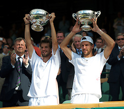 LONDON, ENGLAND - Saturday, July 3rd, 2010: Jurgen Melzer (AUT) (R) and Philipp Petzschner (GER) with the trophies after their Gentlemen's Doubles Final victory on day twelve of the Wimbledon Lawn Tennis Championships at the All England Lawn Tennis and Croquet Club. (Pic by David Rawcliffe/Propaganda)