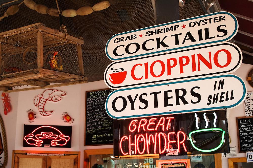 Seafood signs at Tony's Crab Shack in Old Town Bandon; southern Oregon coast.