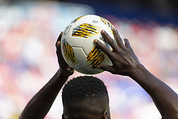 September 30, 2018 - Harrison, New Jersey, United States - Kemar Lawrence (92) of Red Bulls prepares to put ball into pitch during regular MLS game against Atlanta United FC at Red Bull Arena Red Bulls won 2 - 0  (Credit Image: © Lev Radin/Pacific Press via ZUMA Wire)