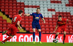 LIVERPOOL, ENGLAND - Monday, January 16, 2017: Manchester United's Scott McTominay in action against Liverpool during the FA Premier League 2 Division 1 Under-23 match at Anfield. (Pic by David Rawcliffe/Propaganda)