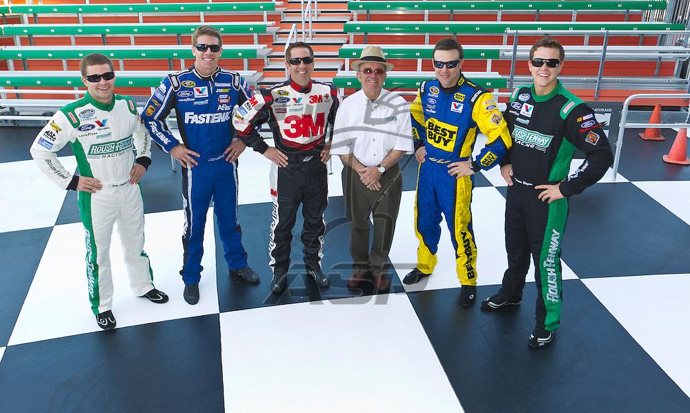 Daytona Beach, FL - Feb 22, 2012:  NASCAR team Roush Fenway Racing's annual photo day from Daytona International Speedway.  RFR celebrates its 25th Anniversary in 2012 and will feature the lineup of:  Matt Kenseth, Carl Edwards, Greg Biffle, Jack Roush, Ricky Stenhouse Jr. and Trevor Bayne.