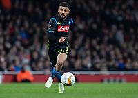 Football - 2018 / 2019 UEFA Europa League - Quarter Final, First Leg Arsenal vs. Napoli <br /> <br /> Lorenzo Insigne (Napoli) on a run towards the Arsenal goal at The Emirates.<br /> <br /> COLORSPORT/DANIEL BEARHAM
