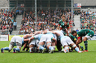 Ben Youngs of Leicester Tigers (right) feeds the scrum during the Aviva Premiership match at Welford Road, Leicester<br /> Picture by Andy Kearns/Focus Images Ltd 0781 864 4264<br /> 06/09/2014