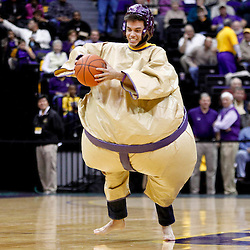 December 10, 2011; Baton Rouge, LA; A LSU Tigers fan competes in a sumo-basketball contest during the first half of a game Boise State Broncos at the Pete Maravich Assembly Center.  Mandatory Credit: Derick E. Hingle-US PRESSWIRE