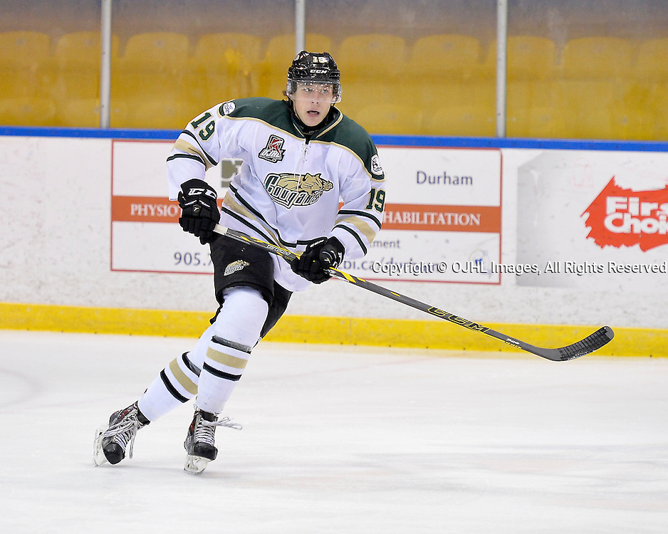 WHITBY, ON - Sep 29, 2015 : Ontario Junior Hockey League game action between Cobourg and Whitby, Kallen Mcfarland #19 of the Cobourg Cougars during the first period.<br /> (Photo by Shawn Muir / OJHL Images)