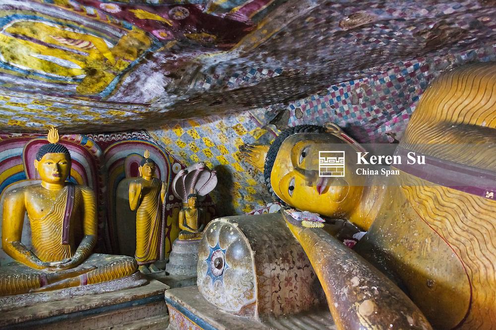 Buddhist statues in the cave monastery, Golden Temple of Dambulla, UNESCO World Heritage site, Sri Lanka
