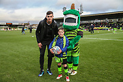 \Mascot with Forest Green Rovers Taylor Allen(12) during the EFL Sky Bet League 2 match between Forest Green Rovers and Scunthorpe United at the New Lawn, Forest Green, United Kingdom on 7 December 2019.