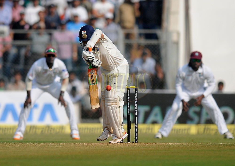 Sachin Tendulkar of India bats during day two of the second Star Sports test match between India and The West Indies held at The Wankhede Stadium in Mumbai, India on the 15th November 2013<br /> <br /> This test match is the 200th test match for Sachin Tendulkar and his last for India.  After a career spanning more than 24yrs Sachin is retiring from cricket and this test match is his last appearance on the field of play.<br /> <br /> <br /> Photo by: Pal PIllai - BCCI - SPORTZPICS<br /> <br /> Use of this image is subject to the terms and conditions as outlined by the BCCI. These terms can be found by following this link:<br /> <br /> http://sportzpics.photoshelter.com/gallery/BCCI-Image-Terms/G0000ahUVIIEBQ84/C0000whs75.ajndY