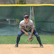 Goldey-Beacom infielder Amber Wroble (12) set up on defense during a NCAA Central Atlantic Collegiate Conference game between Nyack College and Goldey-Beacom Saturday, April 19, 2014, at Nancy Churchmann Sawin Athletic Field in Wilmington Delaware.<br /> <br /> Goldey-Beacom defeats Nyack College 10-5 in Game 1<br /> <br /> Nyack College defeats Goldey-Beacom 1-0 in Game #2