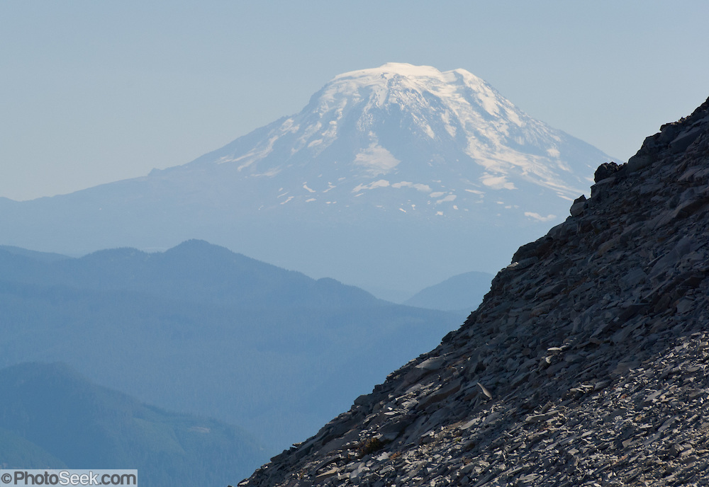 Mount Adams (12,281 feet / 3743 meters elevation), the second-highest mountain in the state of Washington, is a potentially active stratovolcano in the Cascade Range. Seen from Panhandle Gap on the Wonderland Trail, Mount Rainier National Park, USA.