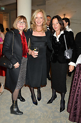 Left to right, JOAN WASHINGTON, MARY GREENWELL and GABRIELLE TANNER at the Gift of Life Gala Ball celebrating the Russian Old new Year's Eve in aid of the Gift of Life foundation held at The Savoy, London on 13th January 2015.
