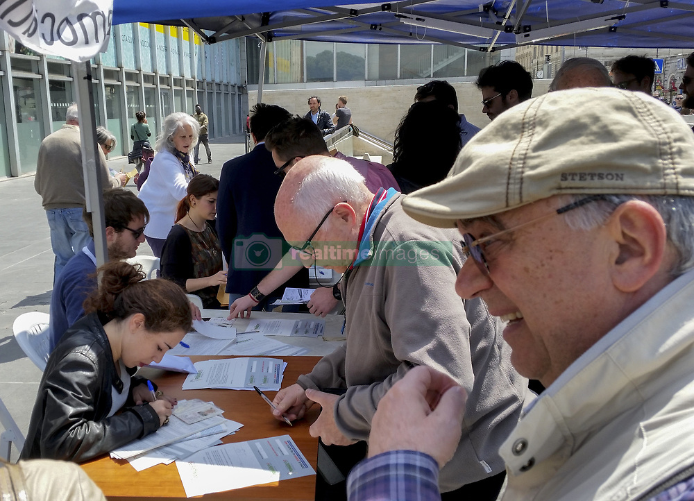 April 30, 2017 - Rome, Italy - About two million Democratic Party (Pd) militants have gone to the polls to vote for the new party secretary. With over 70 percent of preferences wins and returns to the leadership of the Democratic Party Matteo Renzi. In the photos, the PD gazebo set up at Termini Station. (Credit Image: © Patrizia Cortellessa/Pacific Press via ZUMA Wire)