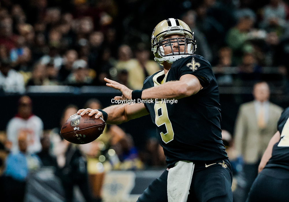 Nov 19, 2017; New Orleans, LA, USA; New Orleans Saints quarterback Drew Brees (9) against the Washington Redskins during the second quarter of a game at the Mercedes-Benz Superdome. Mandatory Credit: Derick E. Hingle-USA TODAY Sports