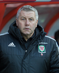 WREXHAM, WALES - Thursday, November 10, 2016: Wales' Manager Gearing Williams before kick off against Greece during the UEFA European Under-19 Championship Qualifying Round Group 6 match at the Racecourse Ground. (Pic by Gavin Trafford/Propaganda)